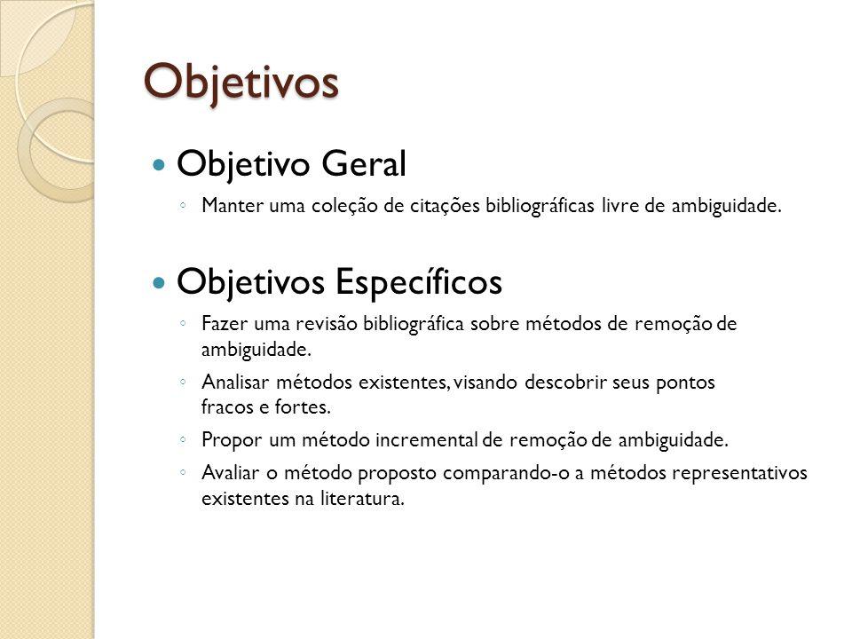 Objetivos Objetivo Geral Manter uma coleção de citações bibliográficas livre de ambiguidade. Objetivos Específicos Fazer uma revisão bibliográfica sob