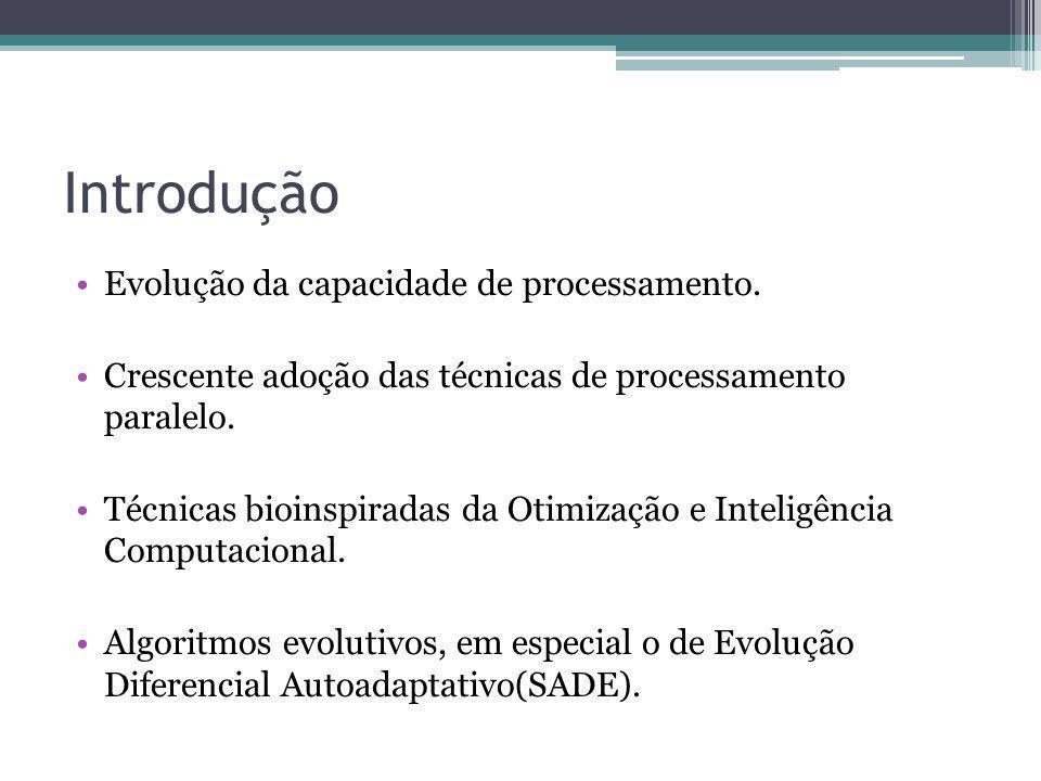 Introdução Evolução da capacidade de processamento. Crescente adoção das técnicas de processamento paralelo. Técnicas bioinspiradas da Otimização e In