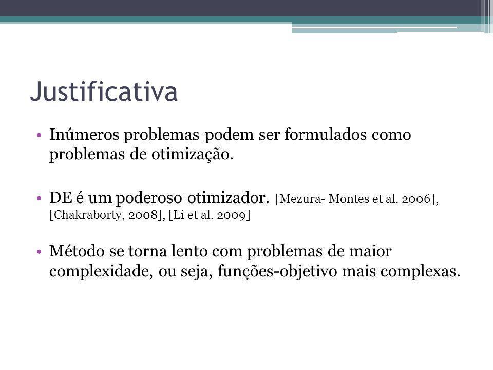 Justificativa Inúmeros problemas podem ser formulados como problemas de otimização. DE é um poderoso otimizador. [Mezura- Montes et al. 2006], [Chakra