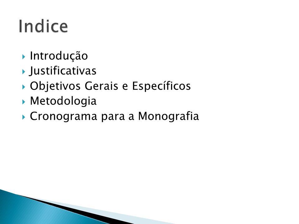 Introdução Justificativas Objetivos Gerais e Específicos Metodologia Cronograma para a Monografia