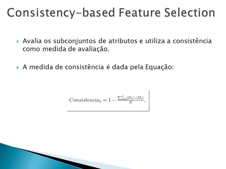 Avalia os subconjuntos de atributos e utiliza a consistência como medida de avaliação.