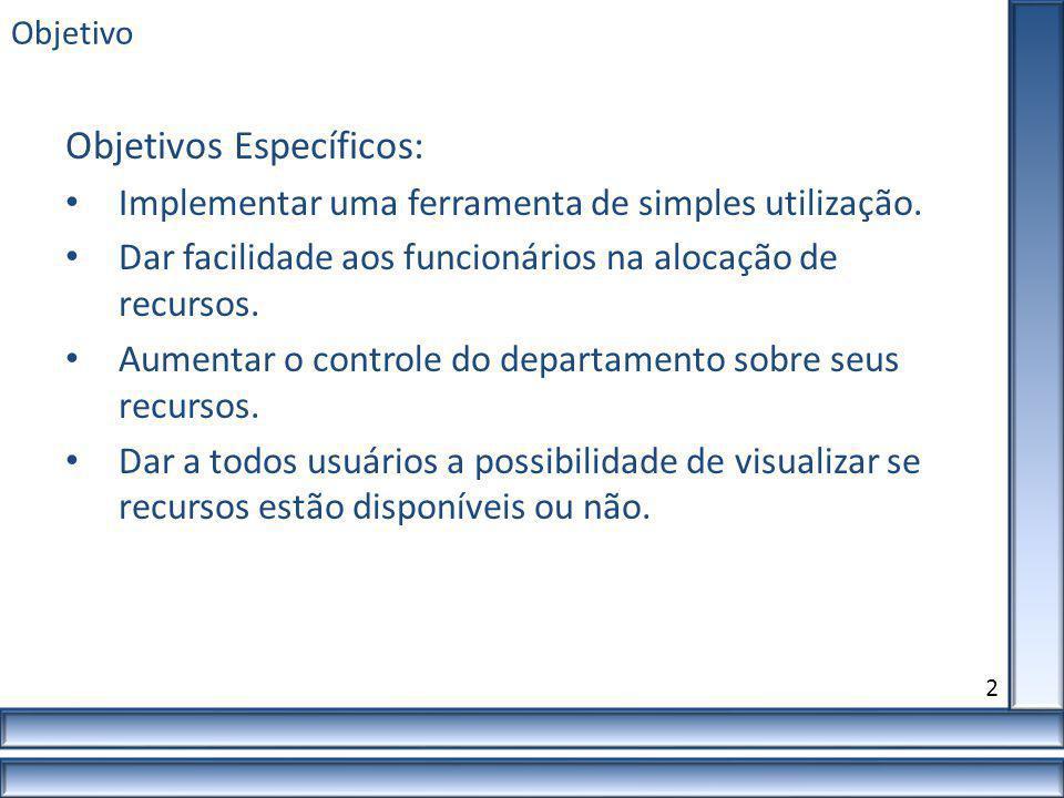 Objetivo Objetivos Específicos: Implementar uma ferramenta de simples utilização. Dar facilidade aos funcionários na alocação de recursos. Aumentar o