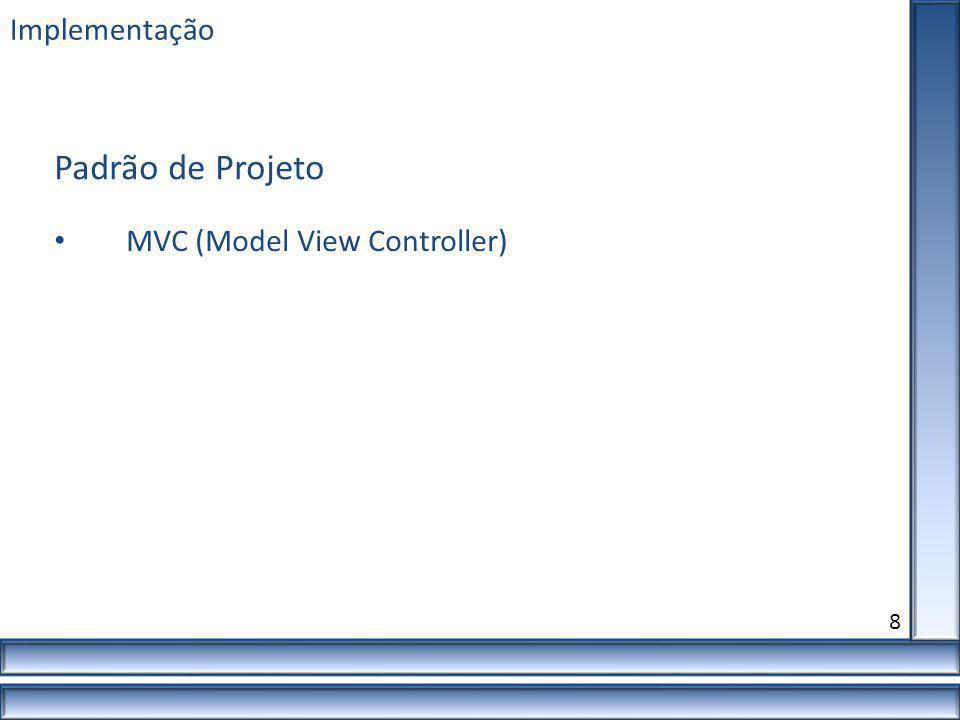 Implementação 8 MVC (Model View Controller) Padrão de Projeto