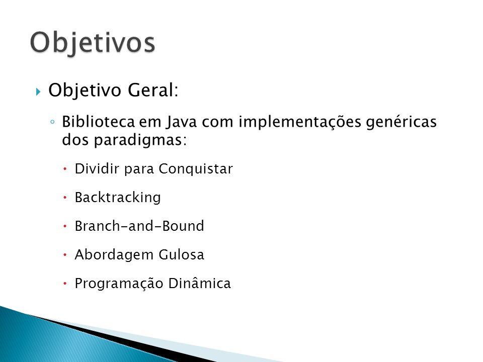 Objetivo Geral: Biblioteca em Java com implementações genéricas dos paradigmas: Dividir para Conquistar Backtracking Branch-and-Bound Abordagem Gulosa Programação Dinâmica