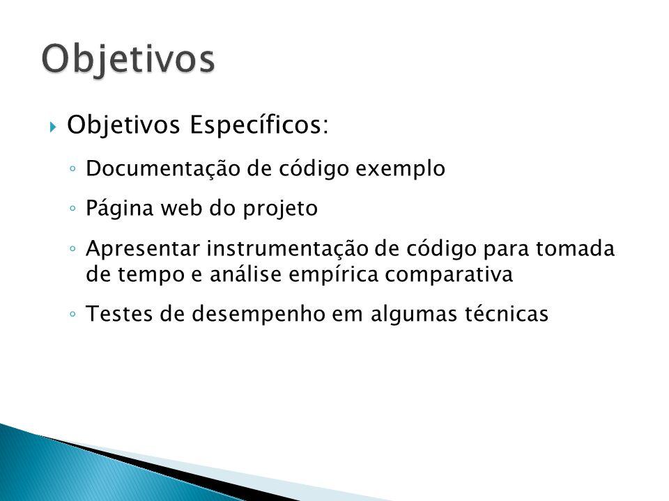 Objetivos Específicos: Documentação de código exemplo Página web do projeto Apresentar instrumentação de código para tomada de tempo e análise empírica comparativa Testes de desempenho em algumas técnicas