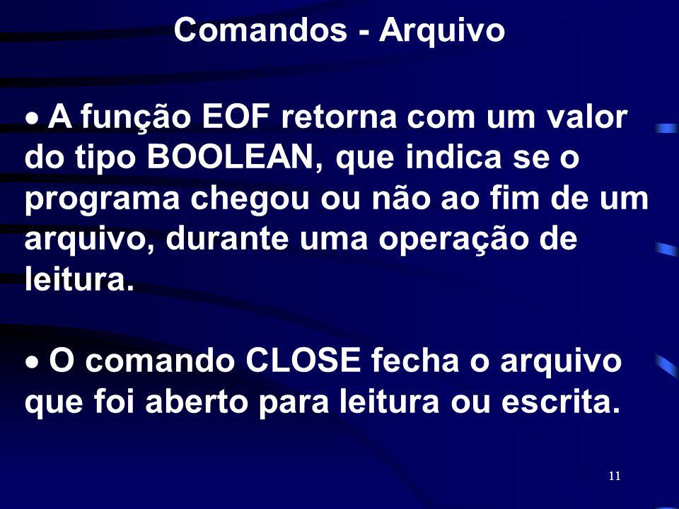 11 Comandos - Arquivo A função EOF retorna com um valor do tipo BOOLEAN, que indica se o programa chegou ou não ao fim de um arquivo, durante uma oper