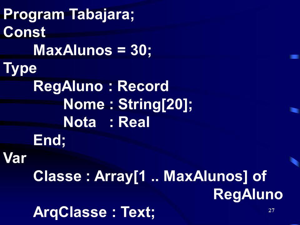 27 Program Tabajara; Const MaxAlunos = 30; Type RegAluno : Record Nome : String[20]; Nota : Real End; Var Classe : Array[1.. MaxAlunos] of RegAluno Ar