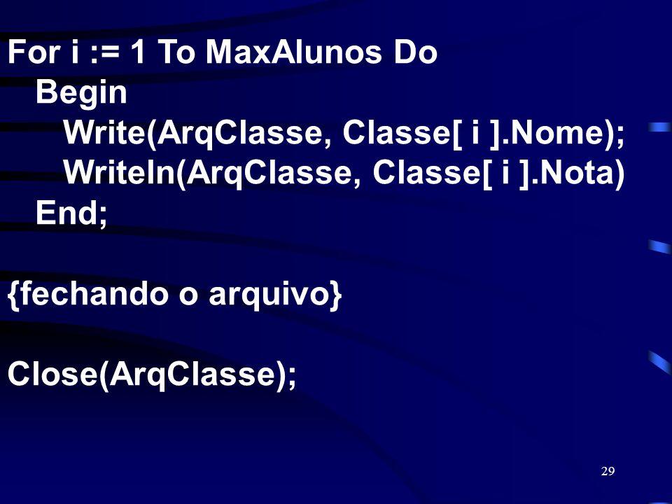 29 For i := 1 To MaxAlunos Do Begin Write(ArqClasse, Classe[ i ].Nome); Writeln(ArqClasse, Classe[ i ].Nota) End; {fechando o arquivo} Close(ArqClasse