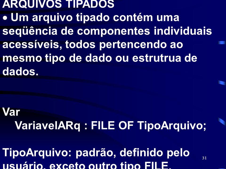 31 ARQUIVOS TIPADOS Um arquivo tipado contém uma seqüência de componentes individuais acessíveis, todos pertencendo ao mesmo tipo de dado ou estrutrua