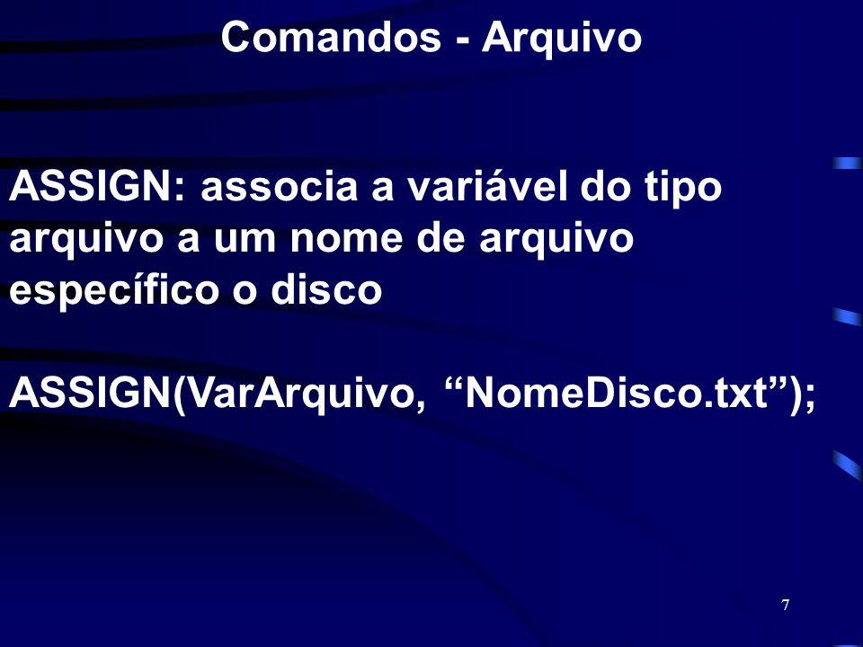 7 Comandos - Arquivo ASSIGN: associa a variável do tipo arquivo a um nome de arquivo específico o disco ASSIGN(VarArquivo, NomeDisco.txt);