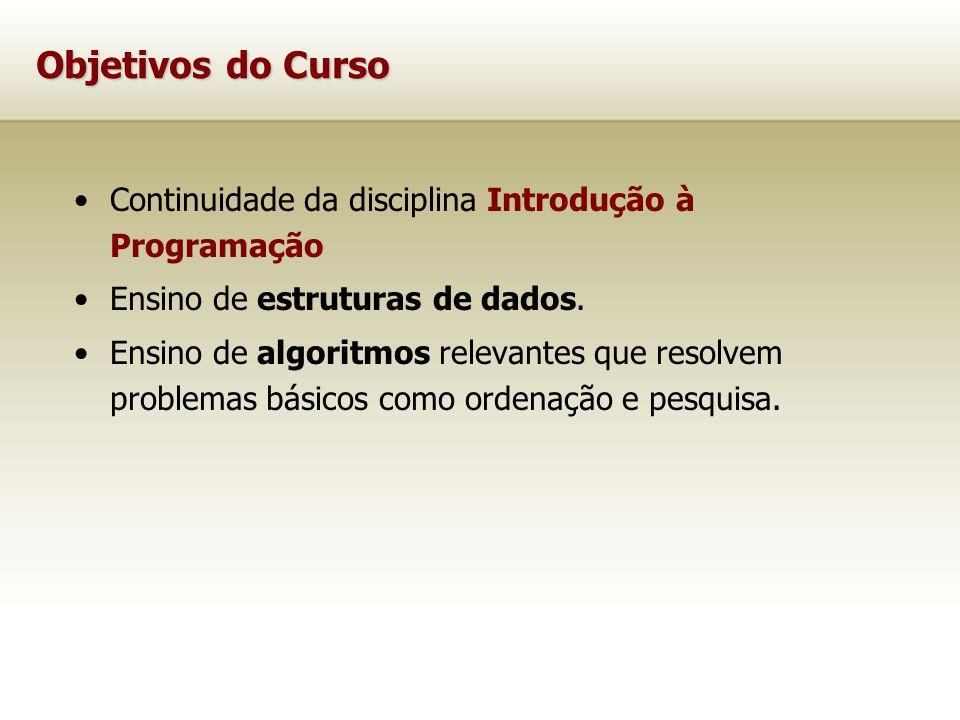Objetivos do Curso Continuidade da disciplina Introdução à Programação Ensino de estruturas de dados. Ensino de algoritmos relevantes que resolvem pro