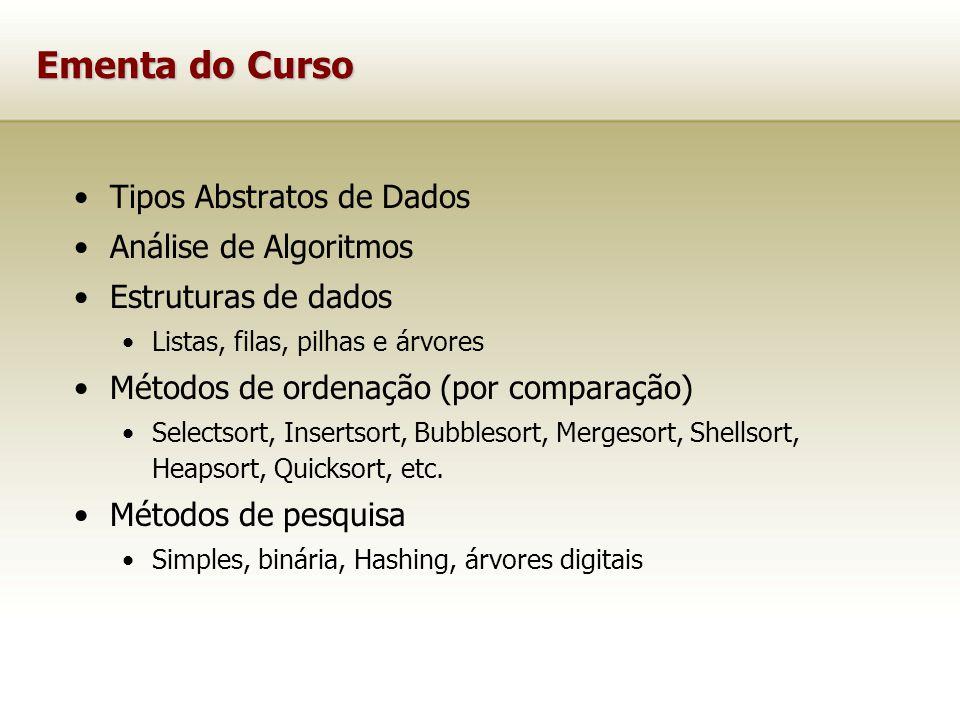 Ementa do Curso Tipos Abstratos de Dados Análise de Algoritmos Estruturas de dados Listas, filas, pilhas e árvores Métodos de ordenação (por comparação) Selectsort, Insertsort, Bubblesort, Mergesort, Shellsort, Heapsort, Quicksort, etc.