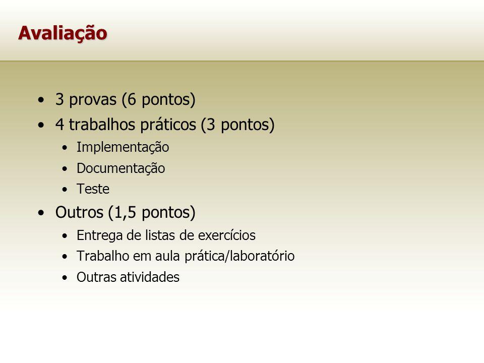 Avaliação 3 provas (6 pontos) 4 trabalhos práticos (3 pontos) Implementação Documentação Teste Outros (1,5 pontos) Entrega de listas de exercícios Tra