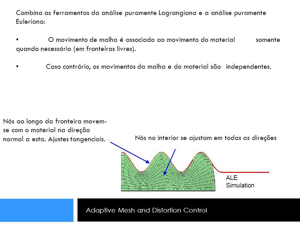 Adaptive Mesh and Distortion Control Combina as ferramentas da análise puramente Lagrangiana e a análise puramente Euleriana: O movimento de malha é a