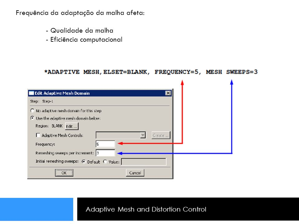 Adaptive Mesh and Distortion Control Frequência da adaptação da malha afeta: - Qualidade da malha - Eficiência computacional