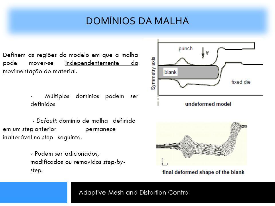 Adaptive Mesh and Distortion Control DOMÍNIOS DA MALHA Definem as regiões do modelo em que a malha pode mover-se independentemente da movimentação do
