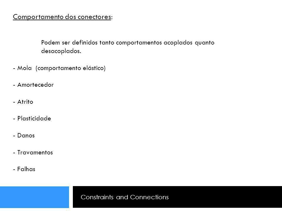 Constraints and Connections Comportamento dos conectores: Podem ser definidos tanto comportamentos acoplados quanto desacoplados. - Mola (comportament