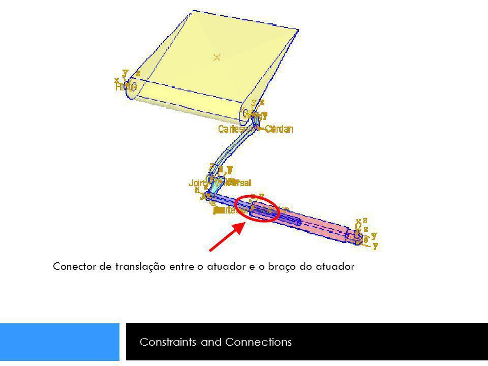 Constraints and Connections Conector de translação entre o atuador e o braço do atuador