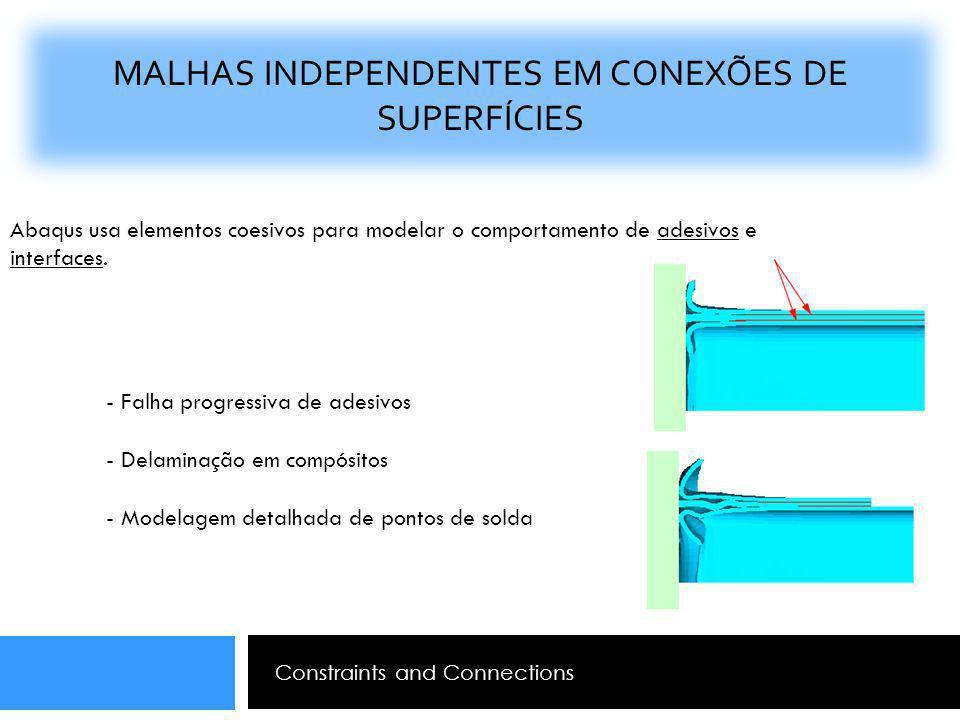 MALHAS INDEPENDENTES EM CONEXÕES DE SUPERFÍCIES Constraints and Connections Abaqus usa elementos coesivos para modelar o comportamento de adesivos e i