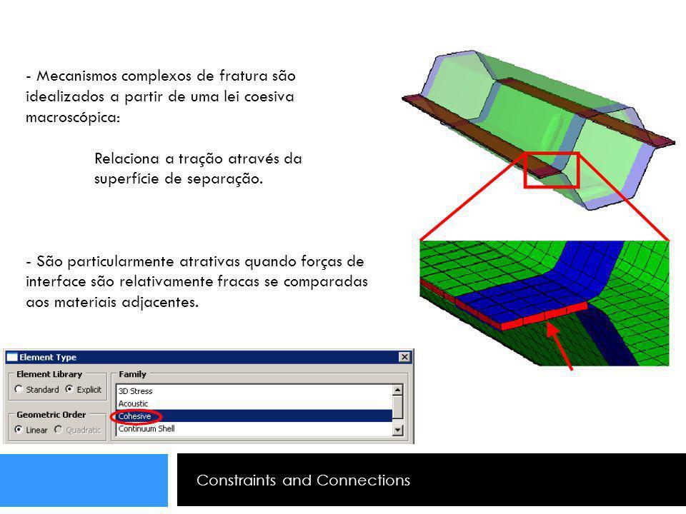 Constraints and Connections - Mecanismos complexos de fratura são idealizados a partir de uma lei coesiva macroscópica: Relaciona a tração através da