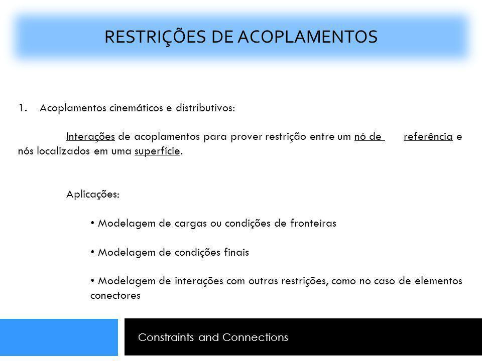 RESTRIÇÕES DE ACOPLAMENTOS 1. Acoplamentos cinemáticos e distributivos: Interações de acoplamentos para prover restrição entre um nó de referência e n