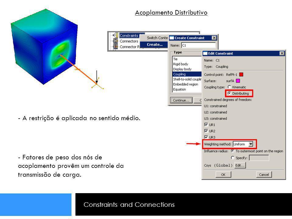 Constraints and Connections Acoplamento Distributivo - A restrição é aplicada no sentido médio. - Fatores de peso dos nós de acoplamento provêm um con