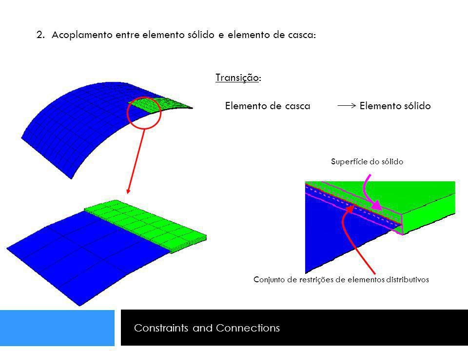 Constraints and Connections 2. Acoplamento entre elemento sólido e elemento de casca: Transição: Elemento de casca Elemento sólido Conjunto de restriç