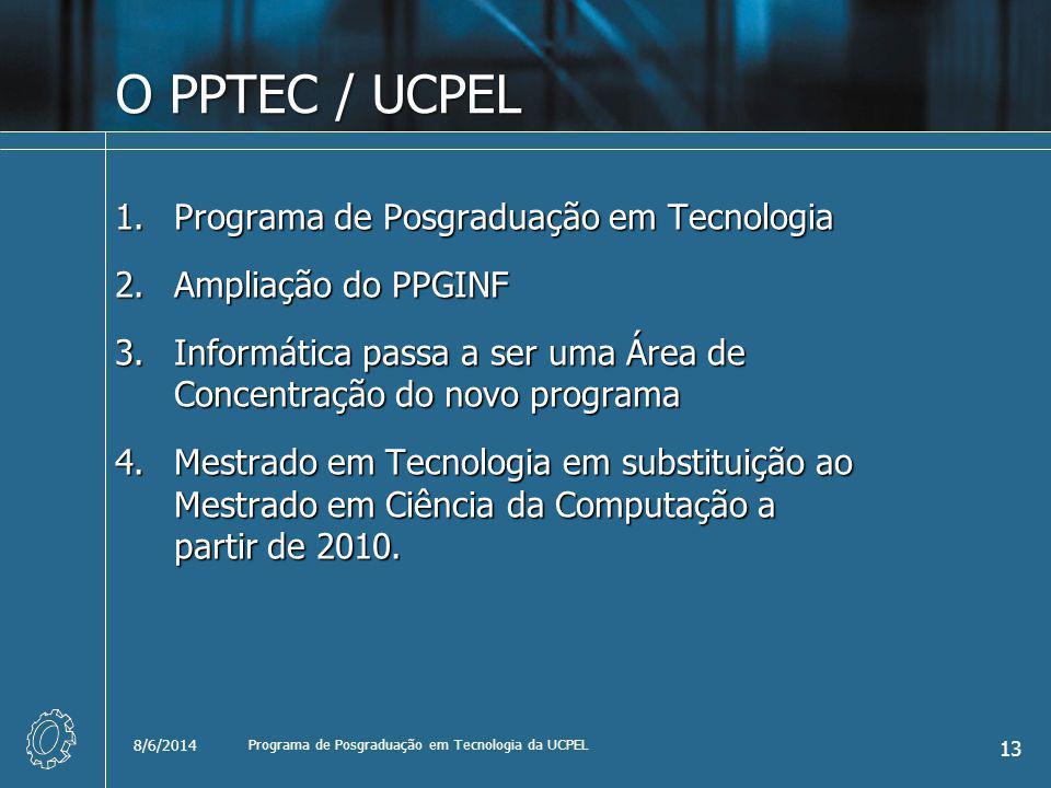 O PPTEC / UCPEL 1.Programa de Posgraduação em Tecnologia 2.Ampliação do PPGINF 3.Informática passa a ser uma Área de Concentração do novo programa 4.Mestrado em Tecnologia em substituição ao Mestrado em Ciência da Computação a partir de 2010.