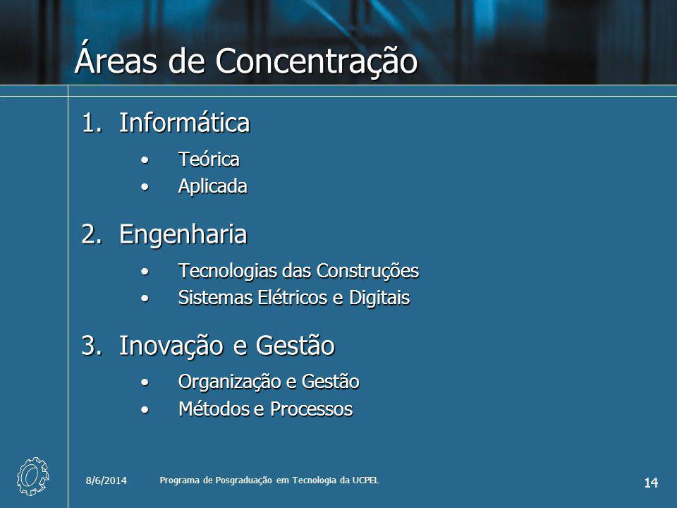 8/6/2014 Programa de Posgraduação em Tecnologia da UCPEL 14 Áreas de Concentração 1.Informática TeóricaTeórica AplicadaAplicada 2.Engenharia Tecnologias das ConstruçõesTecnologias das Construções Sistemas Elétricos e DigitaisSistemas Elétricos e Digitais 3.Inovação e Gestão Organização e GestãoOrganização e Gestão Métodos e ProcessosMétodos e Processos