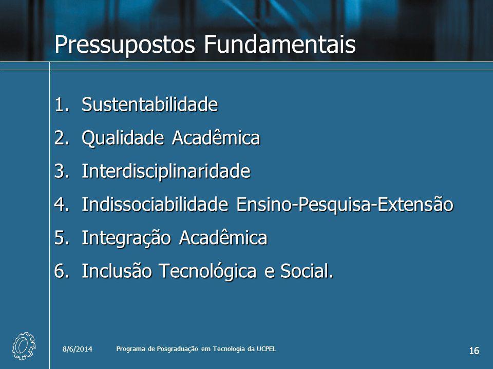 Pressupostos Fundamentais 1.Sustentabilidade 2.Qualidade Acadêmica 3.Interdisciplinaridade 4.Indissociabilidade Ensino-Pesquisa-Extensão 5.Integração Acadêmica 6.Inclusão Tecnológica e Social.