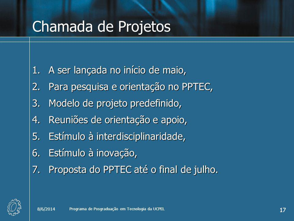 Chamada de Projetos 1.A ser lançada no início de maio, 2.Para pesquisa e orientação no PPTEC, 3.Modelo de projeto predefinido, 4.Reuniões de orientação e apoio, 5.Estímulo à interdisciplinaridade, 6.Estímulo à inovação, 7.Proposta do PPTEC até o final de julho.