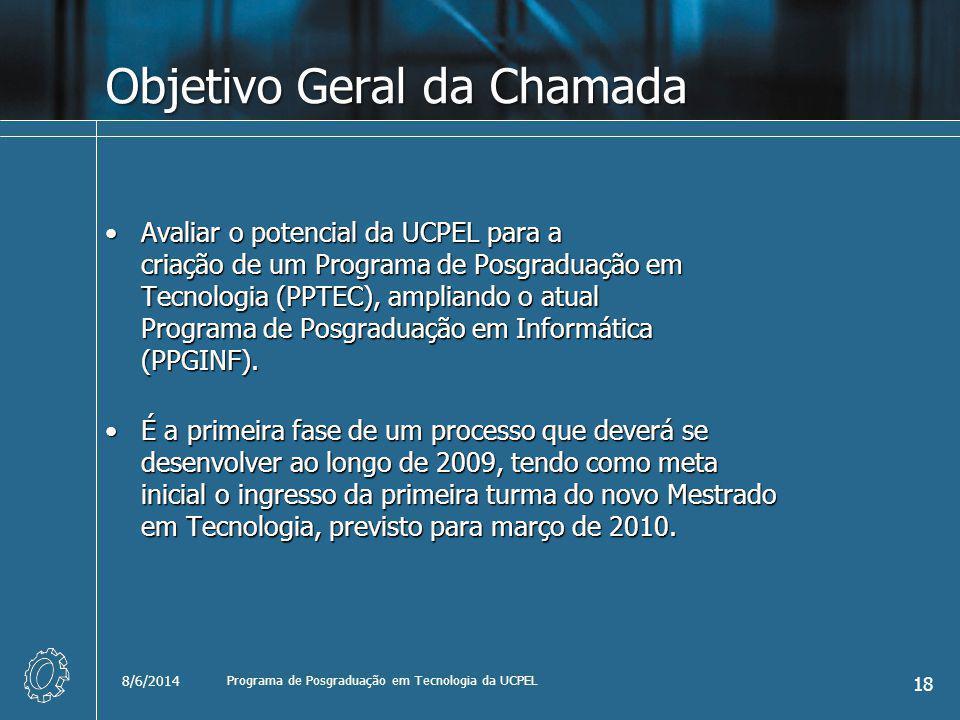 Objetivo Geral da Chamada Avaliar o potencial da UCPEL para a criação de um Programa de Posgraduação em Tecnologia (PPTEC), ampliando o atual Programa