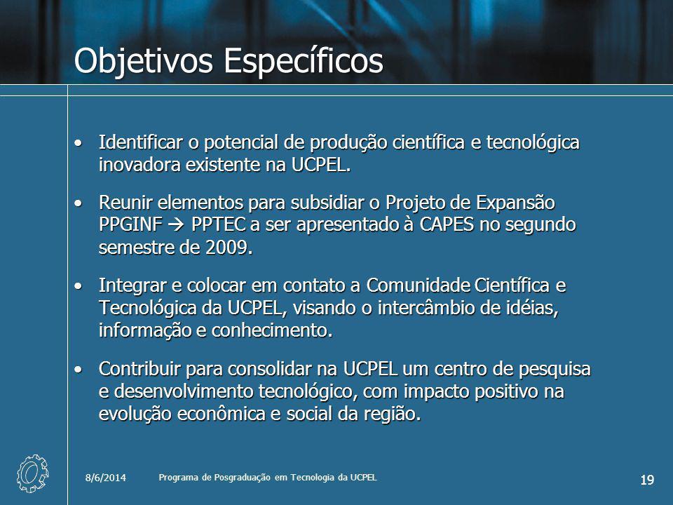Objetivos Específicos Identificar o potencial de produção científica e tecnológica inovadora existente na UCPEL.Identificar o potencial de produção científica e tecnológica inovadora existente na UCPEL.