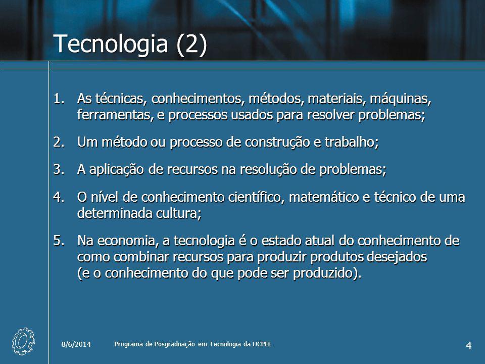 Tecnologia (2) 1.As técnicas, conhecimentos, métodos, materiais, máquinas, ferramentas, e processos usados para resolver problemas; 2.Um método ou pro