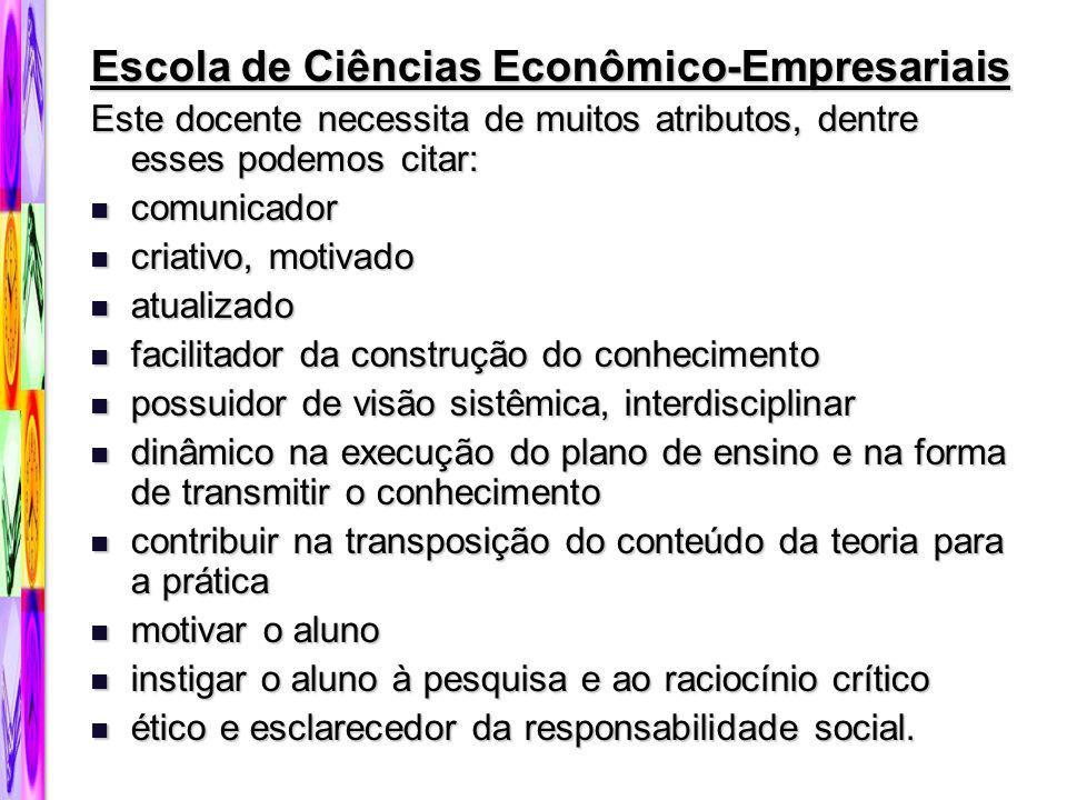 Escola de Ciências Econômico-Empresariais Este docente necessita de muitos atributos, dentre esses podemos citar: comunicador comunicador criativo, mo