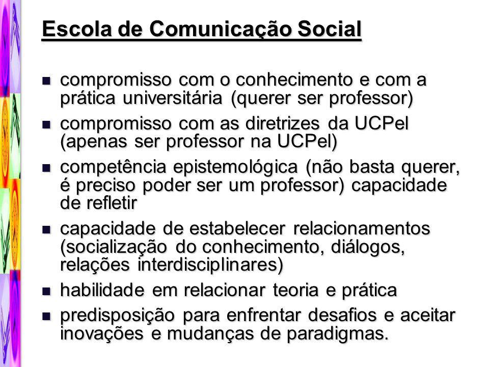 Escola de Comunicação Social compromisso com o conhecimento e com a prática universitária (querer ser professor) compromisso com o conhecimento e com