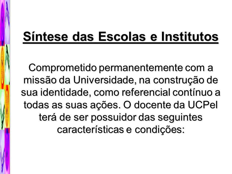 Síntese das Escolas e Institutos Comprometido permanentemente com a missão da Universidade, na construção de sua identidade, como referencial contínuo