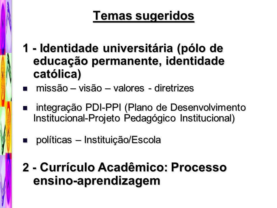 Temas sugeridos 1 - Identidade universitária (pólo de educação permanente, identidade católica) missão – visão – valores - diretrizes missão – visão –