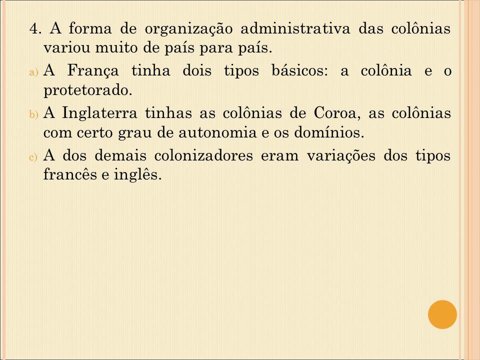 4. A forma de organização administrativa das colônias variou muito de país para país.