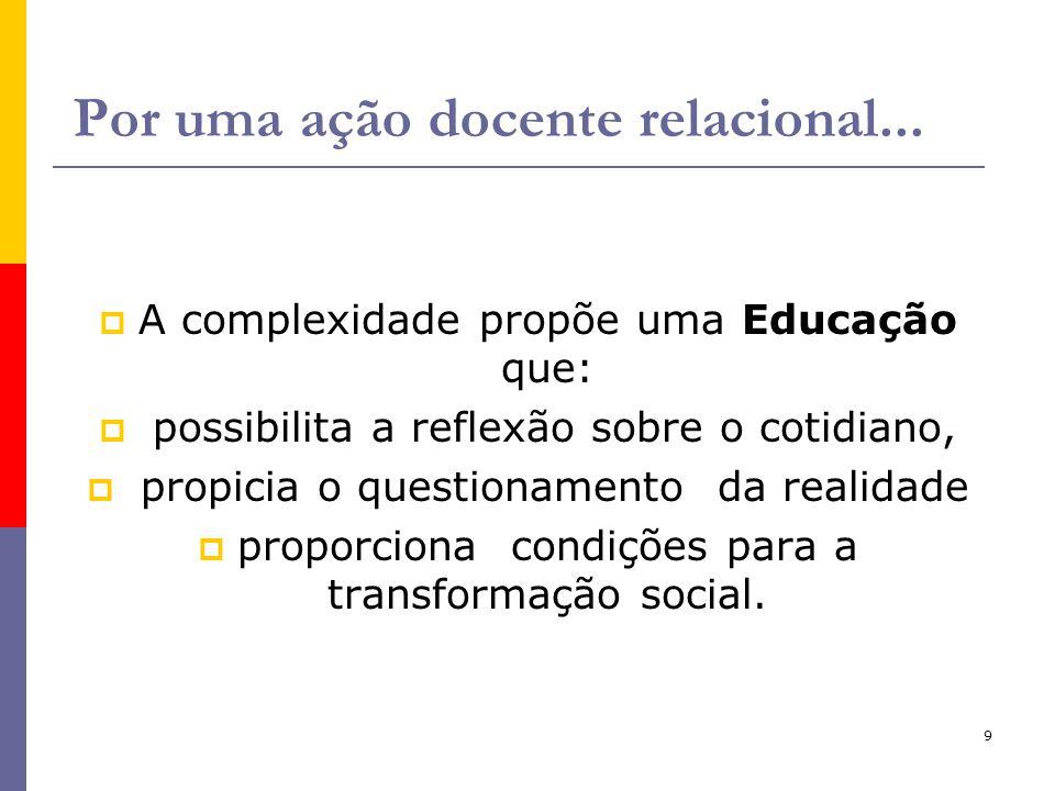 9 Por uma ação docente relacional... A complexidade propõe uma Educação que: possibilita a reflexão sobre o cotidiano, propicia o questionamento da re