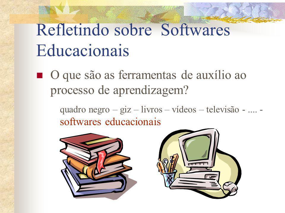 Refletindo sobre Softwares Educacionais O que são as ferramentas de auxílio ao processo de aprendizagem? quadro negro – giz – livros – vídeos – televi