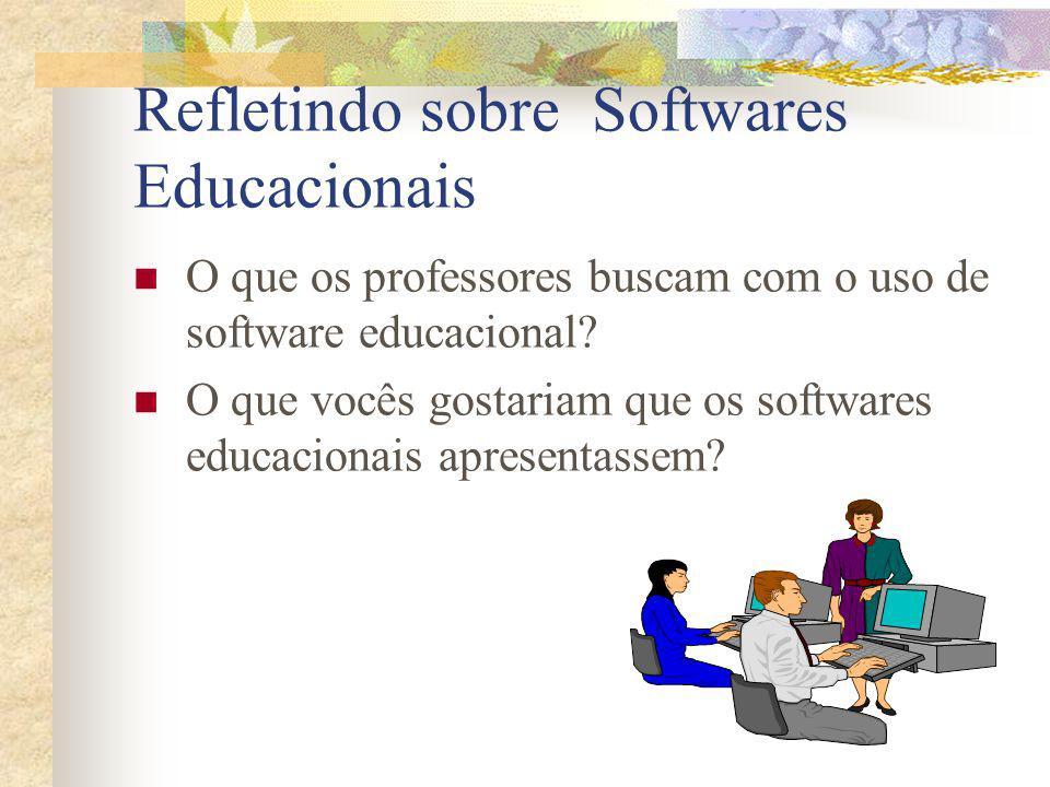 Refletindo sobre Softwares Educacionais O que os professores buscam com o uso de software educacional? O que vocês gostariam que os softwares educacio