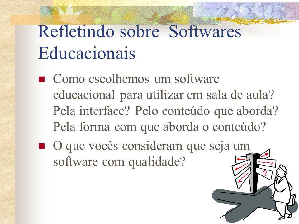 Refletindo sobre Softwares Educacionais Como escolhemos um software educacional para utilizar em sala de aula? Pela interface? Pelo conteúdo que abord