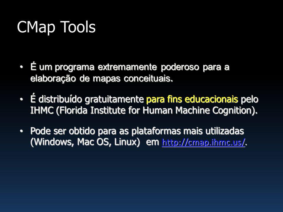 CMap Tools É um programa extremamente poderoso para a elaboração de mapas conceituais.É um programa extremamente poderoso para a elaboração de mapas c