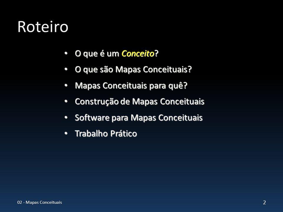 Construção de Mapas Conceituais Definir a questão focal, Definir a questão focal, Definir os principais termos ou conceitos acerca do assunto, Definir os principais termos ou conceitos acerca do assunto, Identificar os conceitos mais gerais, os intermediários e os específicos, Identificar os conceitos mais gerais, os intermediários e os específicos, Iniciar a construção do mapa conceitual: Iniciar a construção do mapa conceitual: – Contornar os conceitos com um círculo (oval ou outra forma), – Contornar os conceitos com um círculo (oval ou outra forma), – Posicionar o conceito mais geral no topo, – Localizar os conceitos intermediários abaixo do geral e os específicos abaixo dos intermediários, – Localizar os conceitos intermediários abaixo do geral e os específicos abaixo dos intermediários, Estabelecer as linhas de relacionamento entre os conceitos, Estabelecer as linhas de relacionamento entre os conceitos, Rotular os relacionamentos para indicar como os conceitos estão conectados (proposições), Rotular os relacionamentos para indicar como os conceitos estão conectados (proposições), Revisar refinar e estender o mapa.