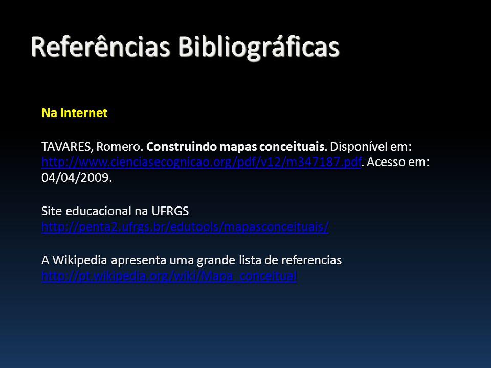 Na Internet TAVARES, Romero. Construindo mapas conceituais. Disponível em: http://www.cienciasecognicao.org/pdf/v12/m347187.pdf. Acesso em: 04/04/2009