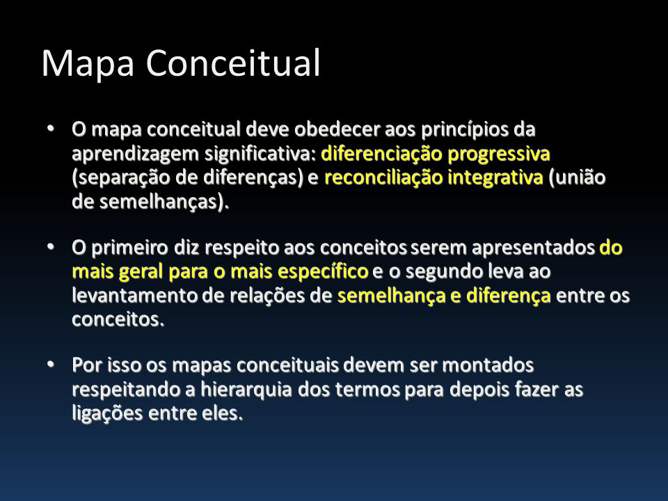 Mapa Conceitual O mapa conceitual deve obedecer aos princípios da aprendizagem significativa: diferenciação progressiva (separação de diferenças) e re