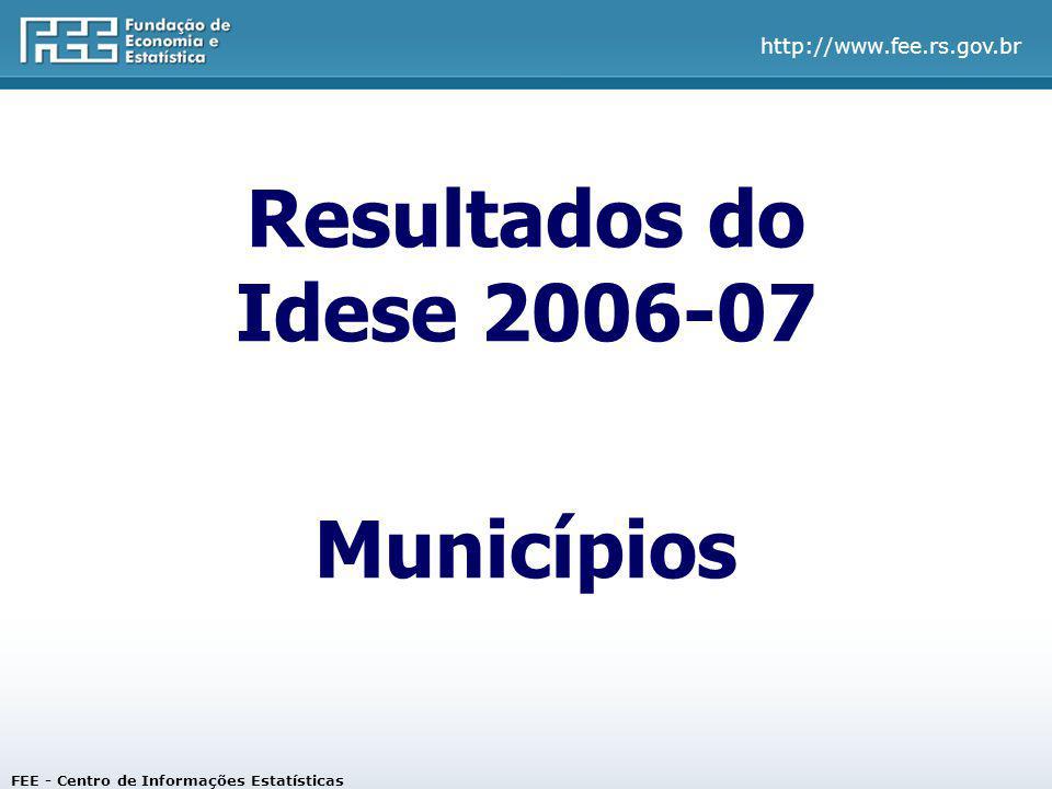 http://www.fee.rs.gov.br Os 10 municípios com maiores Idese em 2007 FEE - Centro de Informações Estatísticas
