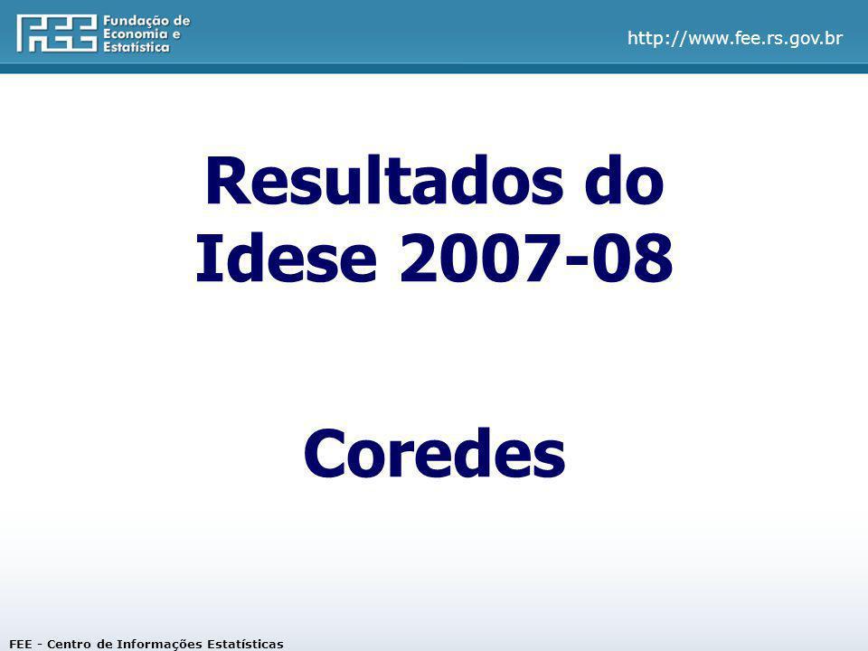 Resultados do Idese 2007-08 Coredes FEE - Centro de Informações Estatísticas