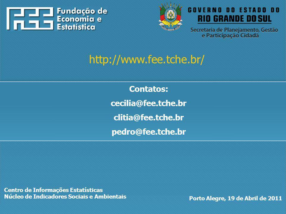 Centro de Informações Estatísticas Núcleo de Indicadores Sociais e Ambientais Porto Alegre, 19 de Abril de 2011 http://www.fee.tche.br/ Contatos: cecilia@fee.tche.br clitia@fee.tche.br pedro@fee.tche.br